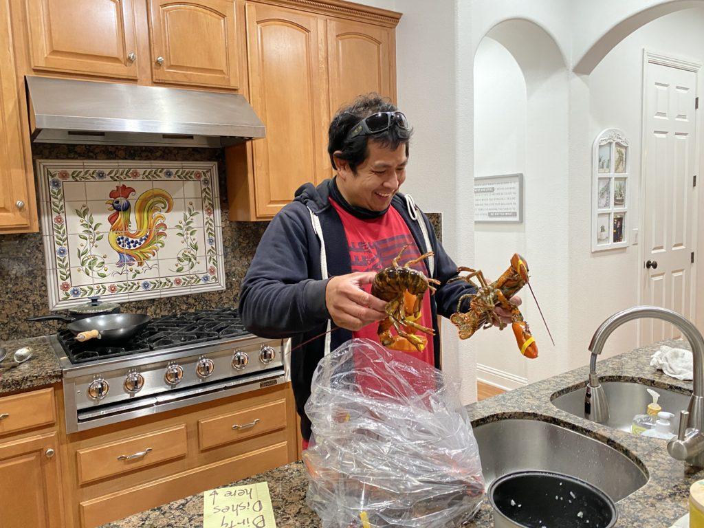 JR cooks lobsters