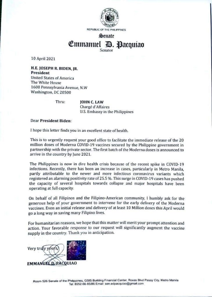 Pacquiao letter