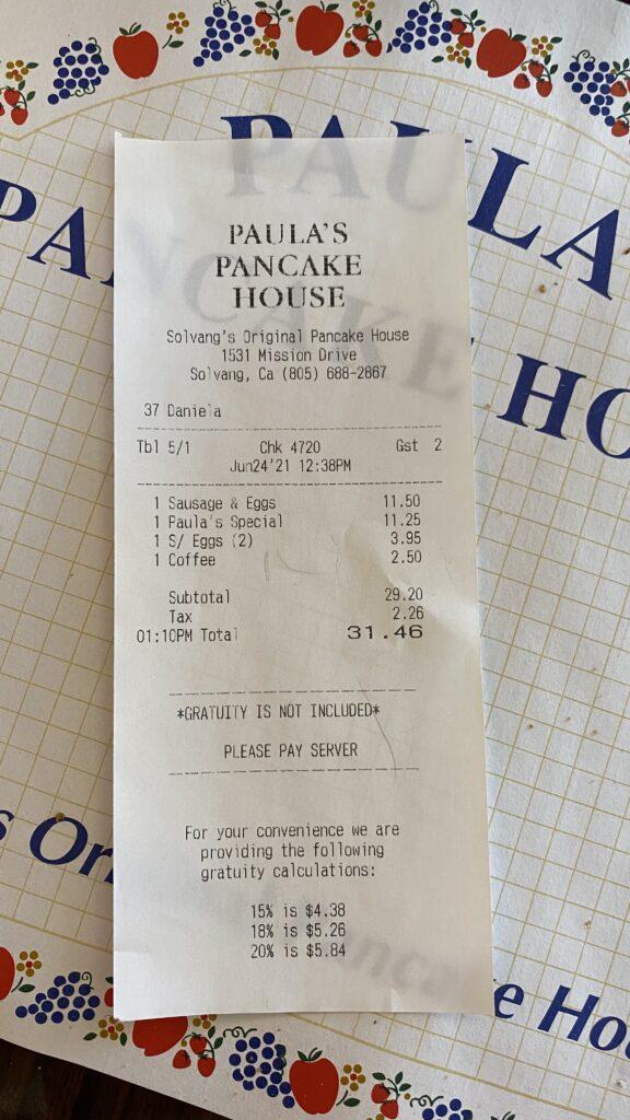 food bill at Paula's