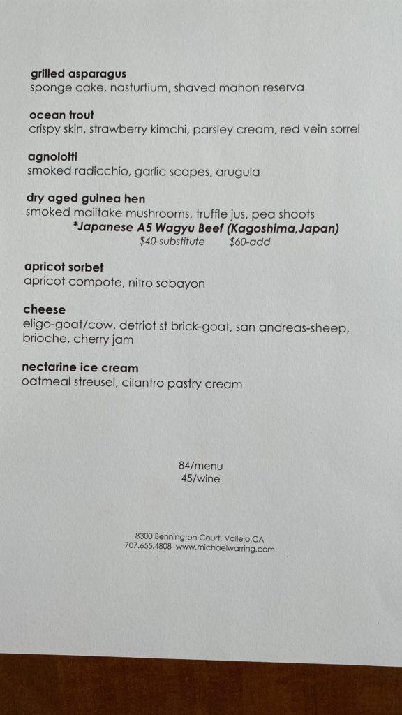 Michael Warring set menu